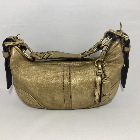 Coach Handbags - 👛2/$50 Coach Metallic Gold Leather Crescent Hobo
